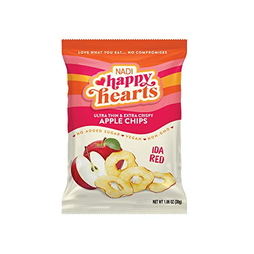 NADI – Healthy Hearts Apple Chips – Ida Red, 1.06 Oz Bag (Pack of 6) | Extra Crispy, Crunchy, Thin Dried Apple Slices | Gluten Free, Non-GMO, Vegan, Keto, Paleo, Fat Free & 100% Guilt Free Snack
