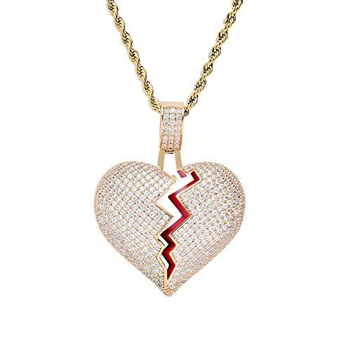 WJLED Collar en Forma de corazón, Colgante Personalizado, decoración Hip-Hop, Cadena de Acero Inoxidable de 24 Pulgadas, Colgante de Pareja Masculina y Femenina,C