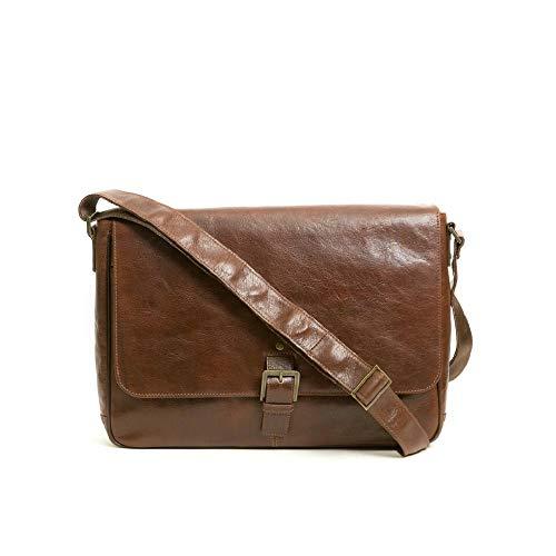 Boconi Becker Buckle Leather 15' Laptop Messenger Bag in Whiskey