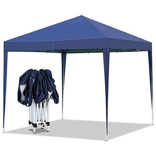 YAHEETECH Outdoor Pop-Up Canopy Tent Portable Shade Instant Folding Canopy with Carry Bag 10 x 10 ft Base, 10 x 10 ft Canopy Navy Blue