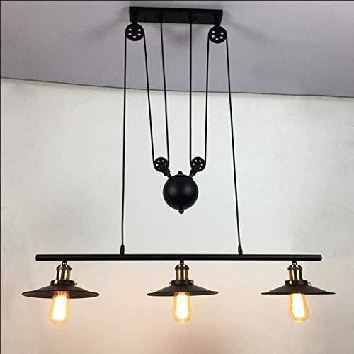 CKQ-KQ Hanglampen Retro hanglamp Montage industriële stijl plafondlamp Indoor Lighting Iron Opknoping Lichte Inrichting for Dining Room Bar Loft Design Chandelier Edison E27 * 3 Katrol