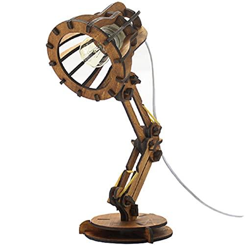 Sggainy Diseño Original DIY DIY Lámpara de Mesa Escritorio Luz de ensamblaje Pixar Sólido Madera Personalidad Desktop Light Creative Hecho a Mano Programa Lámpara de Lectura