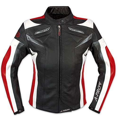 A-Pro Lederjacke Damen Motorrad Racing All Season CE Protektoren Rindsleder Rot M