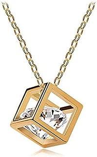 Women Chain Crystal Rhinestone Square Pendant Alloy Necklace Jewelry