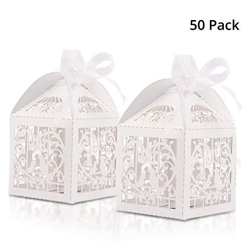 Belle Vous Cajas Regalo Boda (50 Piezas) - 5x5cm Blancas Pequeña, Corte Laser Cajas de Regalo con 50 Cintas - Cajas Regalos para Ocasión Especial, Cumpleaños, Despedida de Solteras y Baby Shower