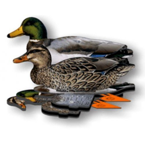FUD Fold Up Mallard Decoy - 6 Foldable, Collapsible Full Size Mallard Duck Decoys for Land and Water use. Pack of six, Easy to Carry, Durable,Space Saving Waterfowl Hunting Decoy