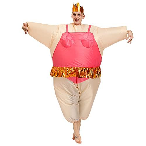 Hao-zhuokun Disfraz de Bailarina Inflable Sumo Wrestling Fat Suit Unisex Blow Up Disfraz Divertido Halloween Novedad Disfraz Adulto Cosplay Disfraz