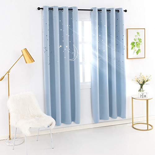 MANGATA CASA Kids Star Blackout Curtains Grommet Thermal 2 Panels for Bed Room,Cutout Galaxy Window Curtain Darkening Drapes for Nursery Living Room(Baby Blue 52x84in)