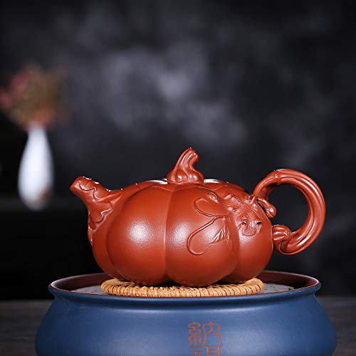 Tea Maker Pot Yixing Teapot Hand-gold Pumpkin Lights Big Red Kung Fu Teapot CRTTRC Teapot (Color : Big purple pouch)