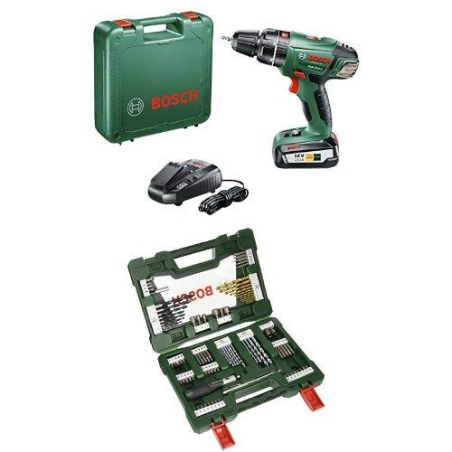 Bosch PSB 18 Li-2 - Taladro atornillador de percusión con batería de litio (45 W, 18 V) + Bosch V-Line Titanio - Pack con 91 piezas para taladrar y atornillar: Amazon.es: Bricolaje y herramientas