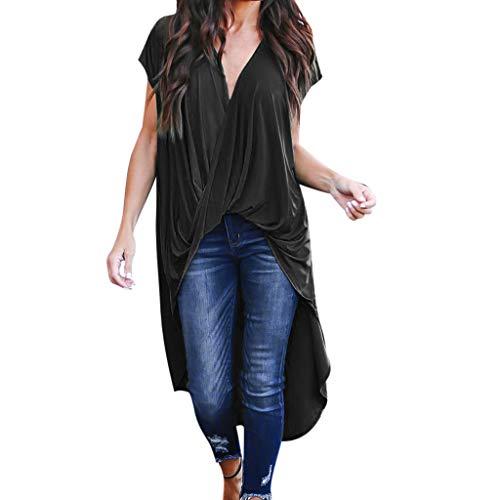 TWIFER Sommer T Shirt Damen Pure Color Kurzarm Chiffon Asymmetrische Lange Bluse Tops Bluse