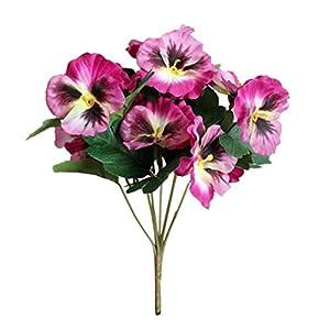 Silk Flower Arrangements 1Pc Artificial Flower Pansy Garden DIY Stage Party Home Wedding Craft Decoration - Purple Red