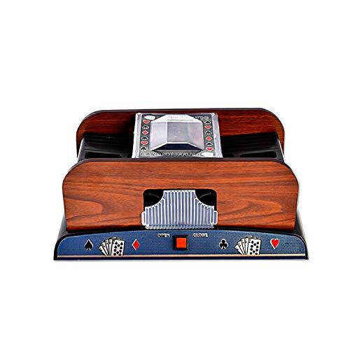 Kartenmischmaschine, Kraeoke Elektrischer Kartenmischer für 2 Decks Karten Holz batteriebetrieben