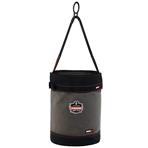 Ergodyne Arsenal 5960T Large Canvas Tool Bucket with Cover and Attachment Rings, Gray