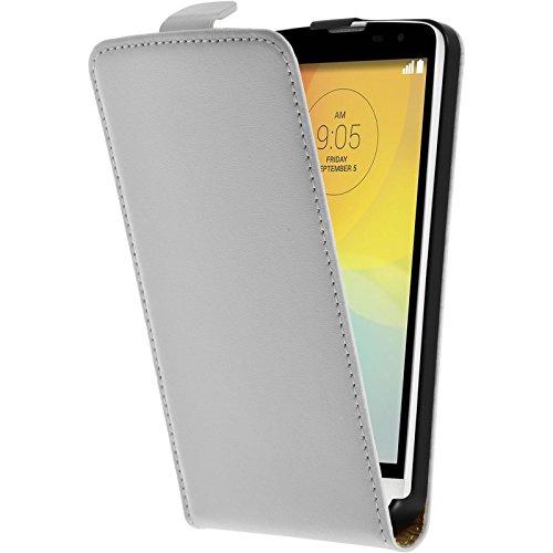 PhoneNatic Kunst-Lederhülle kompatibel mit LG L Bello - Flip-Hülle weiß + 2 Schutzfolien
