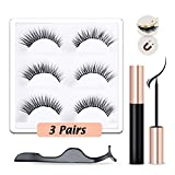 Crystal Rabbit Magnetic Eyelashes and Magnetic Eyeliners Kit, Magnetic Eyeliner with 3 Pairs Natural & Reusable Fluffy Soft Eye Lashes with Tweezers
