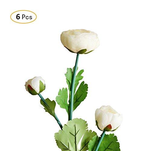 Jia HU Lot de 6 bouquets de fleurs artificielles Pivoine de Pivoine arrangements plantes d'intérieur Décoration extérieure jaune