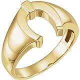 Anillo de herradura de oro amarillo de 14 quilates para hombre, tamaño V, 1/2, joyería regalos para hombres