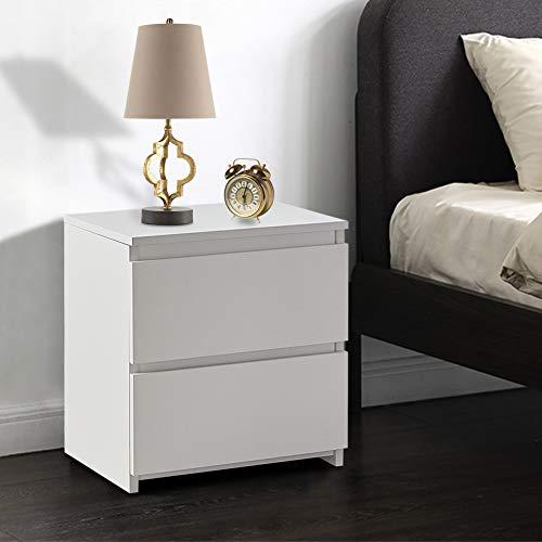 TUKAILAI - Mesita de noche con 2 cajones de madera para dormitorio o sala de estar, madera MDF, Blanco, 40x34x45cm