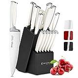 Emojoy Messerblock, Messerset, 15-TLG Messer Set, weiß Küchenmesser Set mit Holz Block,Kochmesser Set