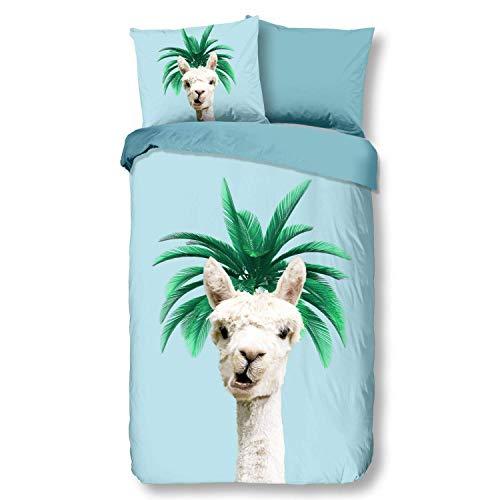 Aminata Kids Bettwäsche Lama-Alpaka-Motiv Mädchen 135 x 200 Baumwolle Jugendliche - Teenager - mit Reißverschluss Tier-Motiv Kinder-Wende-Bettwäsche-Set - Geschenk-Idee - Lamas, Tiere, blau bunt