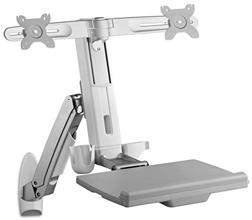 Icy Box IB-MS600-T Monitor-tafelhouder tot 24 inch (61 cm), plank voor toetsenbord & muis, VESA, kabelgeleiding, draai-/kantelbaar, staal, werkplek Wandbevestiging. Für 2 Monitore grijs