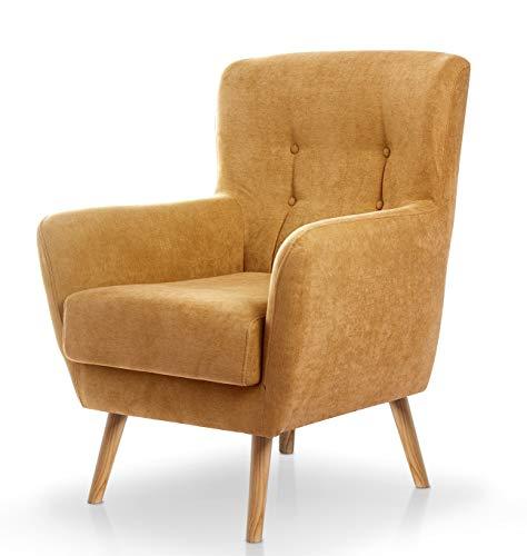 SUENOSZZZ-ESPECIALISTAS DEL DESCANSO Butaca nórdica Izan de una Plaza, sillón tapizado en Tela Antimanchas Color Mostaza