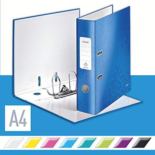 Leitz 10050036 Qualitäts-Ordner (A4, 8 cm Rückenbreite, Graupappe mit laminierter Oberfläche, WOW) blau glänzend , Design kann variieren