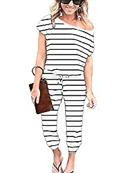 Lightweight and soft fabric,has plenty of stretch for the perfect fit, is an elegant jumpsuits for this hot summer; Sexy off one shoulder or classic round neck design show off your personalise,Keyhole back design let it easier to put on and off,Two s...