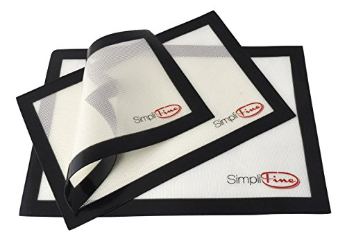 SimpliFine Silicone Baking Mat Set, 3 Different Silicone Baking Mats...
