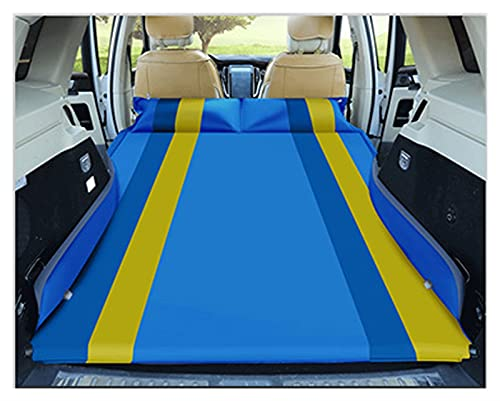 QSWL Colchón Hinchable Colchón Aire Coche AutoCama AireColchón para Auto con Aire Camping Y Viajar(Inflado Automático) (Color : Blue-Yellow Strips, Size : 180x130x105cm)