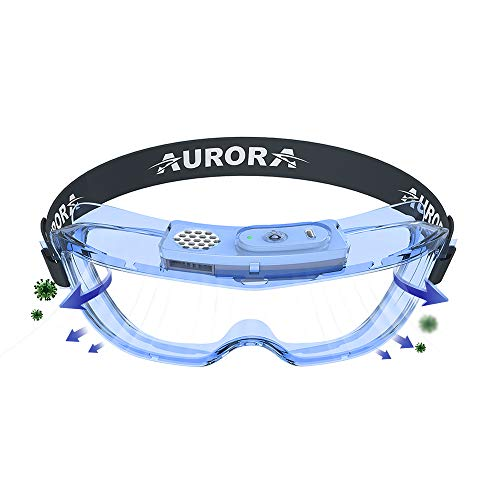 AM1 Electric AntiFog Safety Goggles ZeroFog Powered Reusable Breathable Lightweight PVC Goggles WideVision Adjustable Protective Eyewear Perfect for Construction Shooting Lab