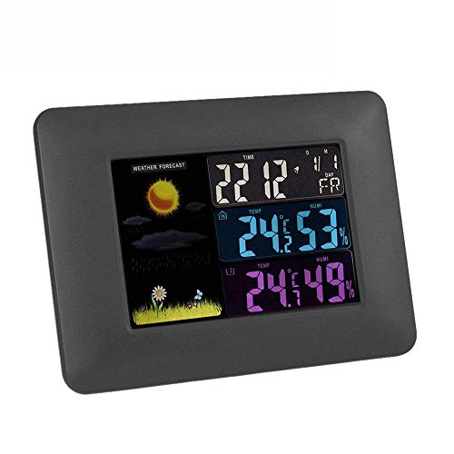 Home Equipment Mini reloj despertador Pantalla a color Reloj meteorológico Termómetro inalámbrico multifunción estándar europeo Reloj despertador simple clásico (Color: Negro Tamaño: 17x12.5x1.5cm)
