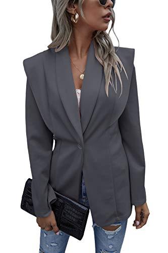 Shownicer Mujer Manga Larga Blazer Elegante Oficina Negocios OL Traje De Chaqueta Sólido Slim Fit Abrigo Cardigan Outwear Top C Gris S