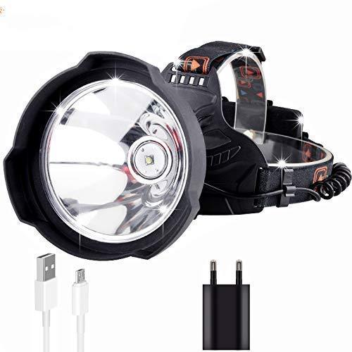 HKX Linterna Frontal LED Linterna Frontal Linterna Frontal súper Brillante, LED 35000 lúmenes Luz Frontal Recargable por USB Luz de Casco LED súper Brillante, Lámpara Frontal para Casco Uso Potente