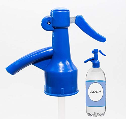 Sodafall fizz saver soda bottle dispenser for seltzer water/club soda and soda pops/fizz keeper/better than soda siphon/saves money/works with 2 liter soda bottle (Blue)