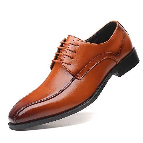 TAZAN Uniformschuhe Für Herren Business Lederschuhe Derby Pointed Shoes Spitze Anzugschuhe Für Vintage Wedding Party Klassische Hochzeitsschuhe Schwarze Braun 38-48EU,Braun,43