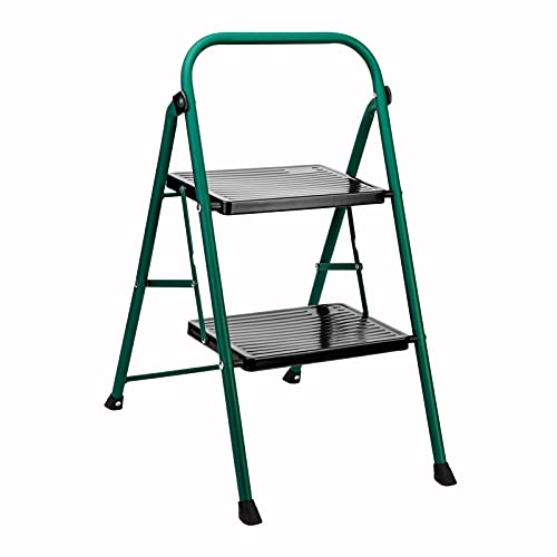 Delxo 2 Step Ladder Folding Step Stool Ladder with Handgrip Anti-Slip Sturdy and Wide Pedal Lightweight 2 Step Stool Multi-Use for Household and Office Portable Step Stool Steel 330lbs (2 feet) Green