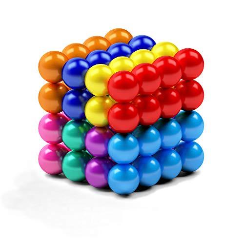 myHodo Bolitas Magnéticas de Colores, Imanes Pequeños Versátiles, Magnetic Balls, Bolas de Iman, Idea de Regalo Antiestrés, Bolas Magnéticas para aliviar el estrés (64 pzas, Colorido)