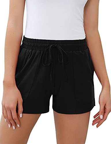 Akalnny Damen Sportshorts Baumwolle Shorts Kurze Schlafanzughose Sport mit Taschen und Kordelzug Schwarz XL