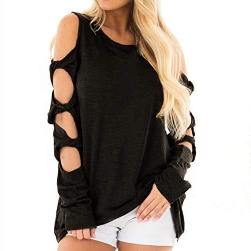 T-Shirt Femme, YUYOUG Femmes Automne Creux Manches Longues Strappy Accueil Froid Solid T-Shirt Tops Blouse Chemisier Chic Sexy Tunique élégante (XL, Black)