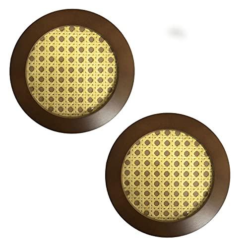 Trays Rattan-Dinner-Platte Kaffee Tee Dekoration Schmuck und Kosmetik-Speicher-Tablett-Desktop-Dekoration (2 Stück) (Color : Circle B)