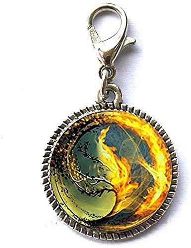 Divergent Inspired – Fondo marrón – Insurgente – Colgante de cristal de tsunami marítimo con cremallera divergente