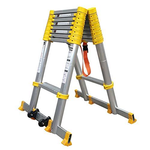 Escalera Telescópica Escalera Telescópica de Aluminio 2m/ 3m/ 4m de Altura, Escalera Alta de Extensión para El Hogar de Ingeniería con Barra de Soporte y Ruedas, Carga 150kg ( Size : 4.2m/13.8ft )