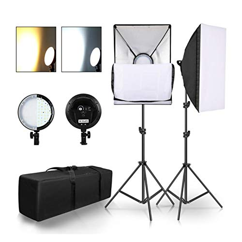 Demoyu Photography LED Lamp Bead Softbox Lighting Kit Two Color Continuous Light Soft Box 45W System Accessories for…