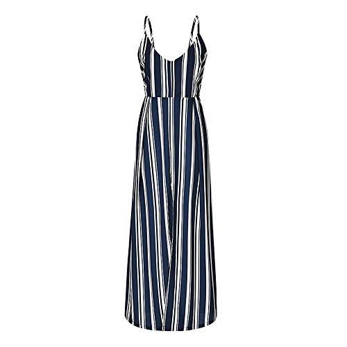 YAONING Dames zomerjurk, V-hals zwart en wit gestreepte lus mouwloze Boheemse jurk, vakantie party rok Large