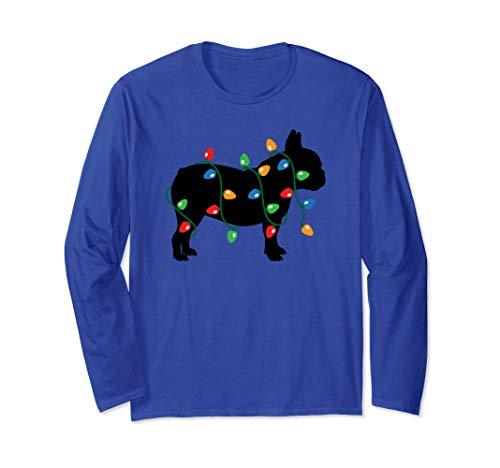 Frenchie Christmas Lights French Bulldog Dog Gift Long Sleeve T-Shirt