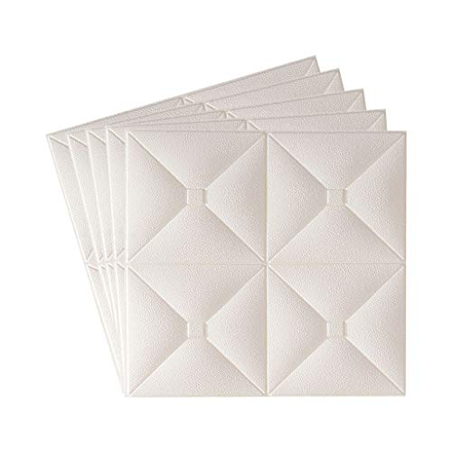 Fugift Home Decoration Stickers 3D Wall Panels 5 Pack, Wall Panels for Interior Wall Decor, Adhesive Waterproof Foam Wall Tile Wood for TV Background walls Bedroom (Wthie)