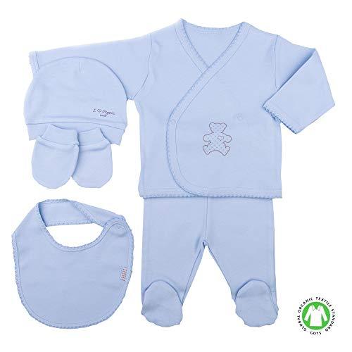 Coffret Naissance en 100% Coton Bio - vêtements Bébé 5 pièces Organic (Bleu)