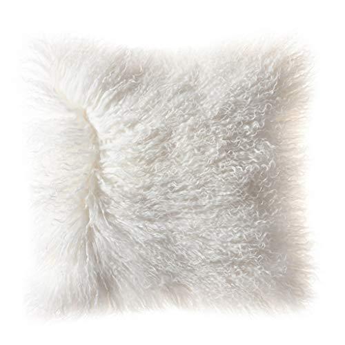 Fundas de Cojín Cubierta de almohada de tirar de piel de Mongolia Decoración peluda Caja de almohada Caja de cojín de color sólido 18x18 '' para el sofá sofá cama de dormitorio ( Color : Milky white )